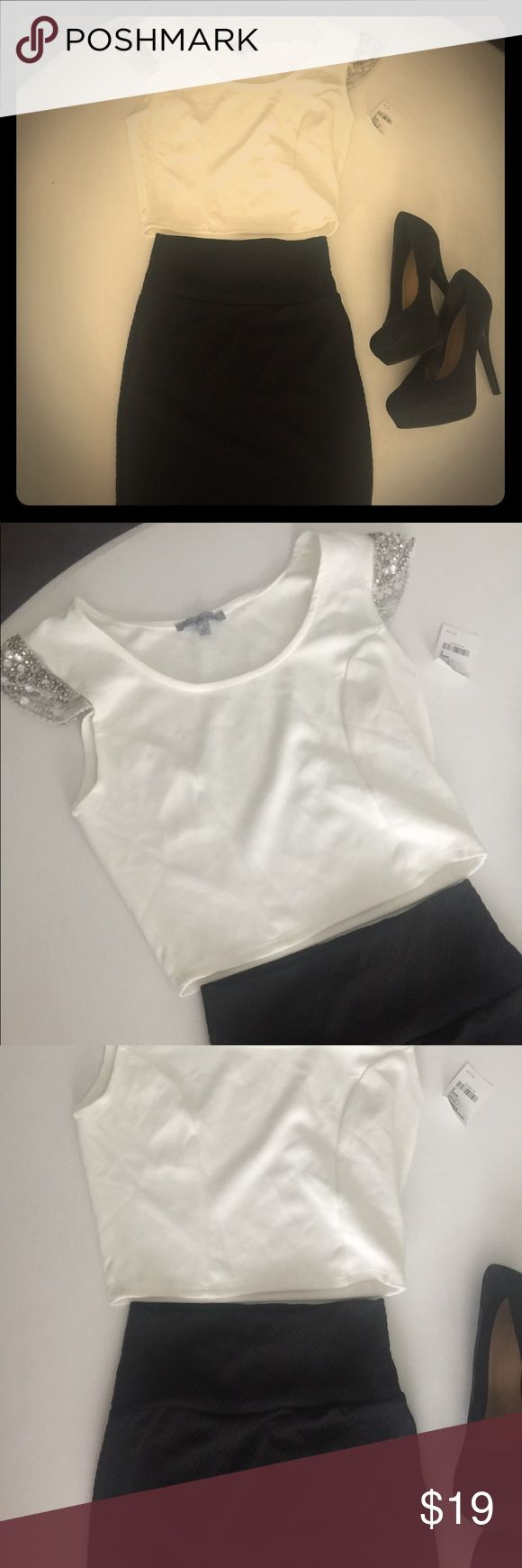 NWT! White Sequence crop top & black tube skirt! Perfect ensemble for a party! NWT! White Sequence sleeve crop top size Small! Black tube skirt size XS! Charlotte Russe Skirts Mini