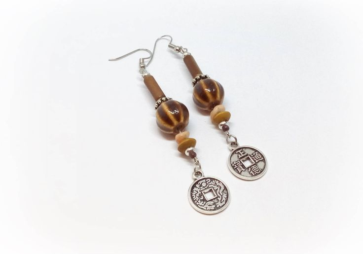 Brown Boho Coin Earrings, Ethnic Dangle Boho Earrings, Drop Coin Earrings, Ethnic Boho Jewelry, Long Brown Earrings Birthday Gift for women by AcagaJewelry on Etsy