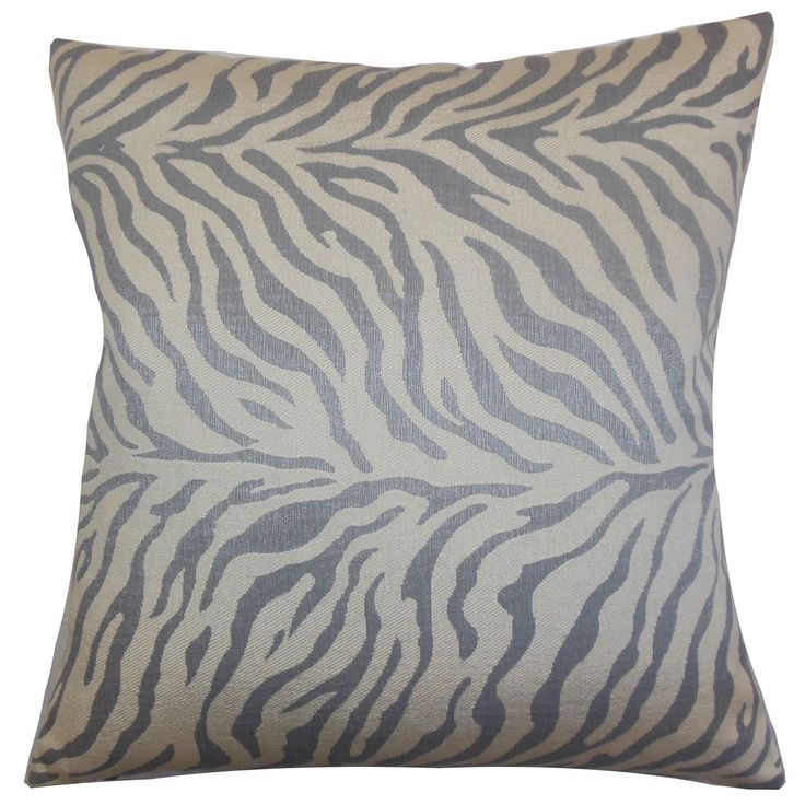Helaine Zebra Print 22-inch Down Feather Throw Pillow Slate