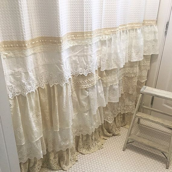 Shabby Chic Shower Curtain White Ivory Lace Ruffle Girls ...