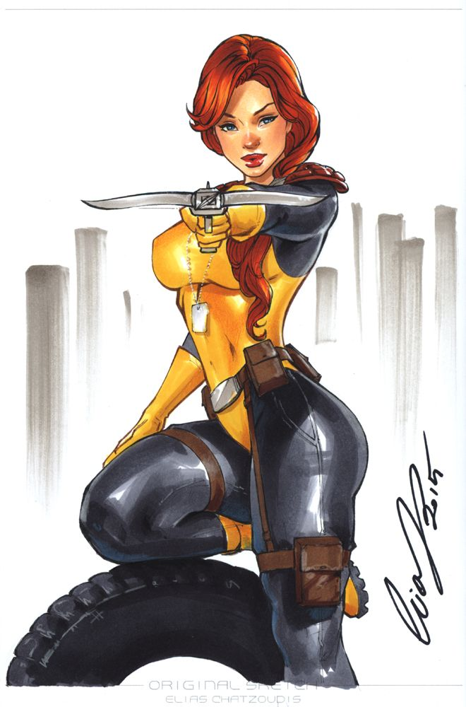 "Scarlet from GI Joe, on the blank back cover of my sketchbook ""Lines"" Vol1 Colors: Markers You can find it here: www.eliasartshop.com/index.php…"