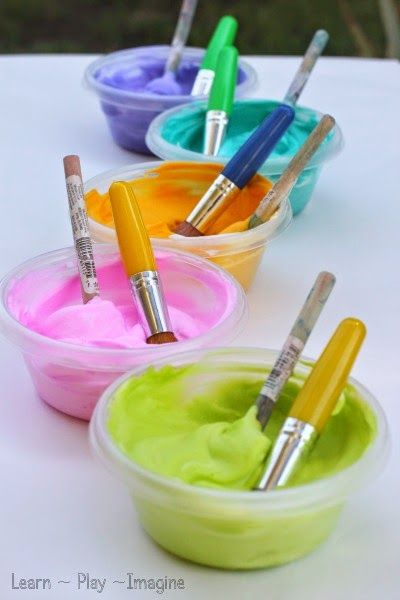 Two ingredient shaving cream paint recipe - your kids will love playing with this colorful cream!