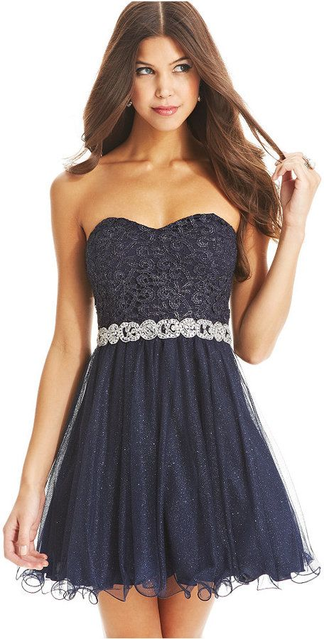 City Studios Juniors Dress, Strapless Lace Glitter A-Line