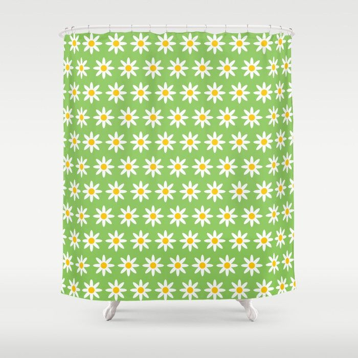 Daisy Flowers Shower Curtain, Lime Green Daisy Pattern, Abstract geometric shower curtains, flower pattern bathroom decor by ThingsThatSing on Etsy