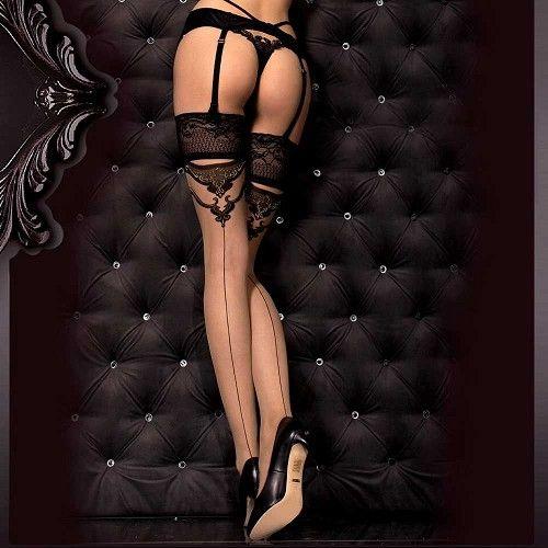 Katrina kanten stay-ups kousen met barok detail zwart/huidskleurig