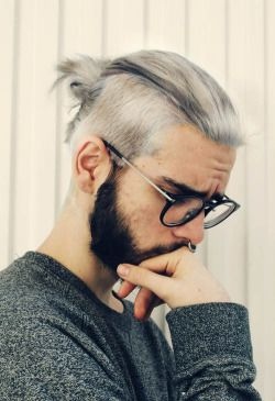 hair cute piercing hipster glasses hairstyle cute guy beard septum white hair…