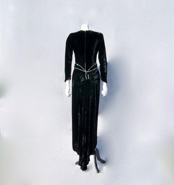 Original 1930s Art Deco Sparkly Diamante Encrusted Silk by vdpshop