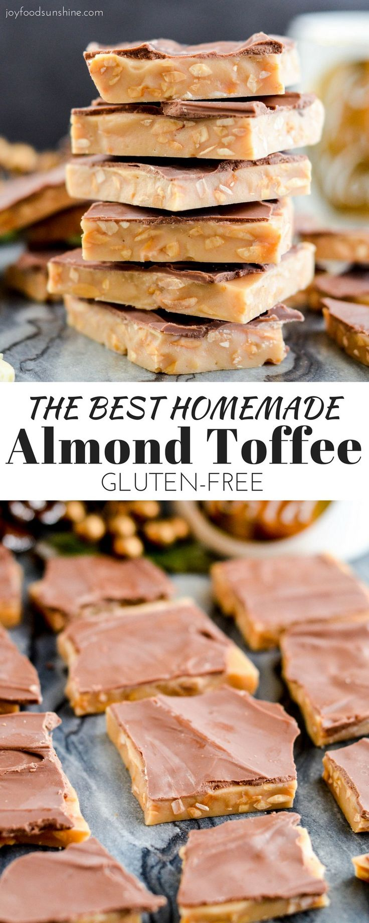 The best Homemade Almond Toffee ever! You only need 8 ingredients to make this delicious holiday treat that is naturally gluten-free! Perfect to give as gifts to your neighbors and friends!