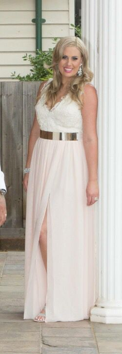 A wedding dress for my client. Chiffon skirt and lace bodice. Gold metal belt.