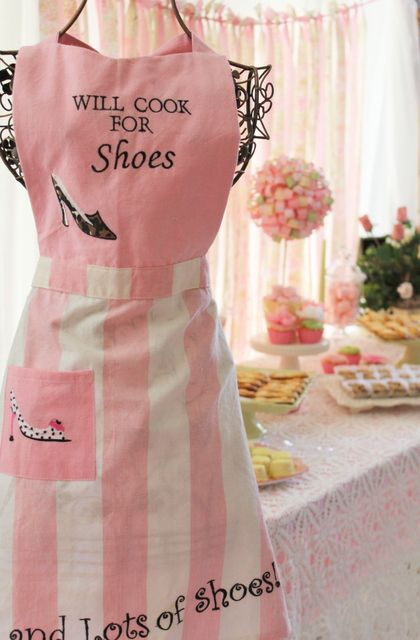 NEED THIS: Kitchens, Shower Ideas, Style, Pink Colors, Cooking, Shoes Quotes, Shoes Shower, Teas Parties, Pink Aprons