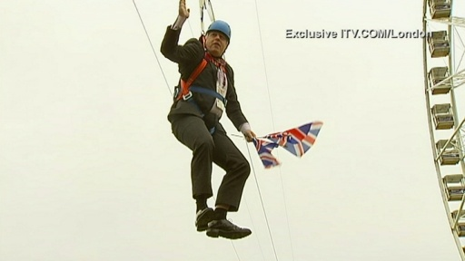 Boris Johnson gets stuck on zip wire carrying two Union flags - Telegraph
