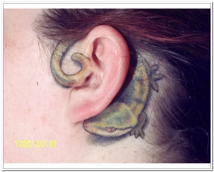 Lizard tattoo behind ear tattoos :DD