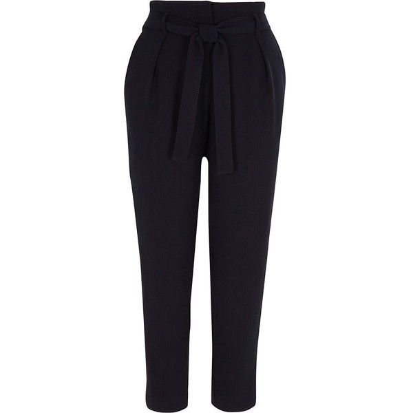 River Island Navy tie waist tapered pants ($72) ❤ liked on Polyvore featuring pants, navy, river island trousers, tapered trousers, women, tapered leg pants, peg-leg pants, navy pants, tapered fit pants and elastic pants