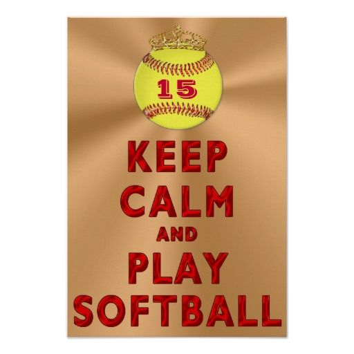 Personalized KEEP CALM AND PLAY SOFTBALL Posters with YOUR JERSEY NUMBER typed into the Text Box. Great Softball Room Themes and Softball Bedroom Ideas. CLICK this LINK to see ALL Custom Sports Gifts: http://www.zazzle.com/littlelindapinda/gifts?cg=196082661659570933&rf=238147997806552929*/  ALL of Little Linda Pinda Designs CLICK HERE: http://www.Zazzle.com/LittleLindaPinda*/