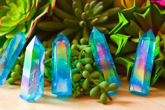 High Quality Aqua Aura Quartz Crystal Wand, Aqua Aura Wand Point, Aura crystal point, Healing crystal, Meditation chakra, Blue Aura Quartz