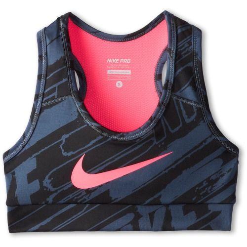 $28.00 Nike Kids NP YA GFX Hypercool Bra (Little Kids/Big Kids) (Dark Magnet Grey/Black/Hyper Pink) Girl's Bra