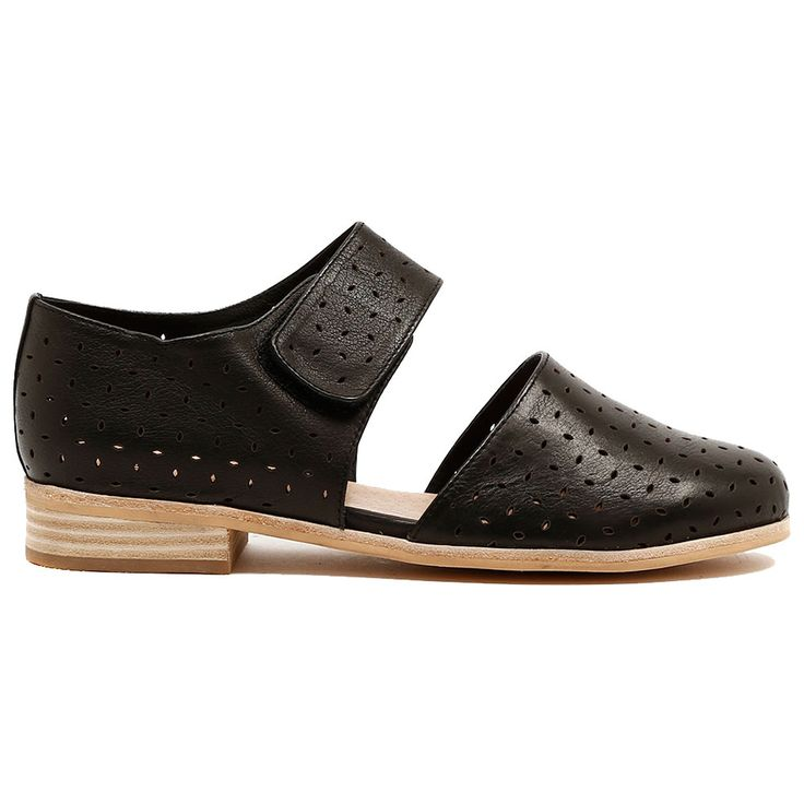 QUITTLE by MOLLINI. Sister to the Quirka flat, this low rise shoe is a great trans-seasonal number. Featuring all over lazer cut detailing and a Velcro strap for easy wear. Available in tan and black. Heel height is 2cm. leather upper, leather lining. http://www.cinori.com.au/mollini/quittle/w1/i1203953_1001989/
