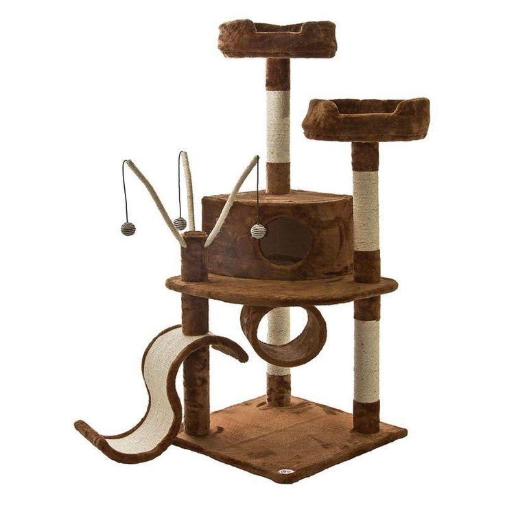 Go Pet Club Cat Tree Furniture 35 in. High Obelisk - Two Tone Brown - F64