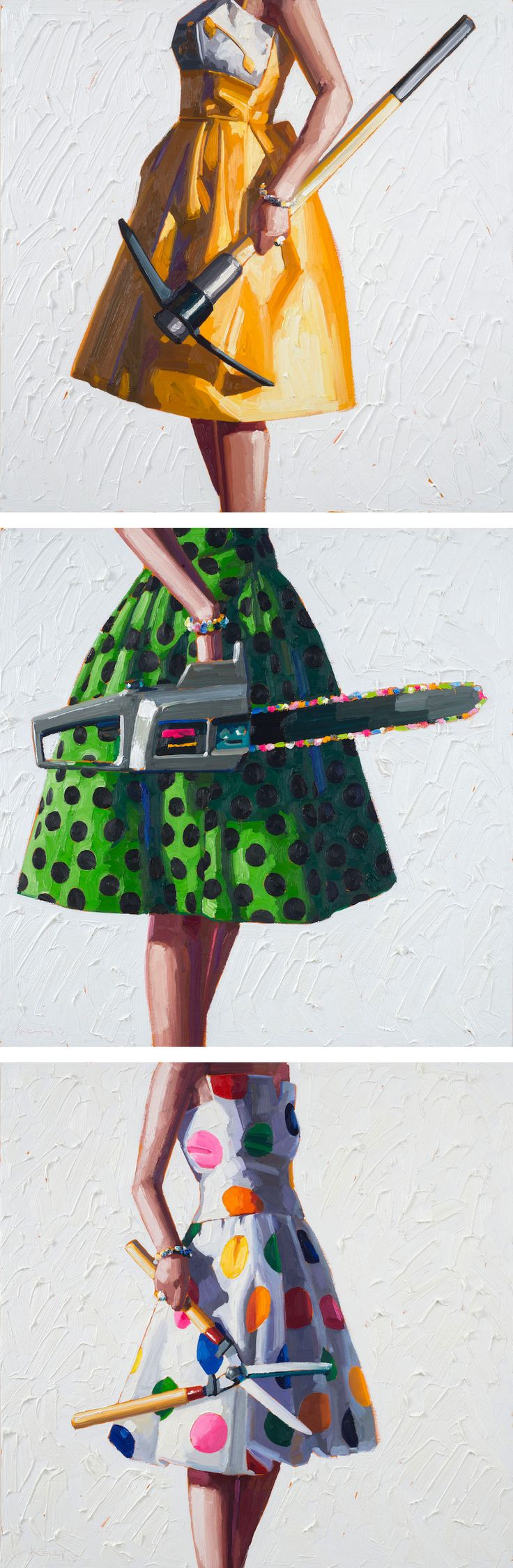 Kelly Reemtsen's Painterly Juxtapositions of Chic Dresses and Power Tools Showcase Modern Femininity