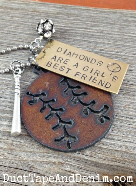Diamonds are a girl's best friend baseball necklace   DuctTapeAndDenim.com