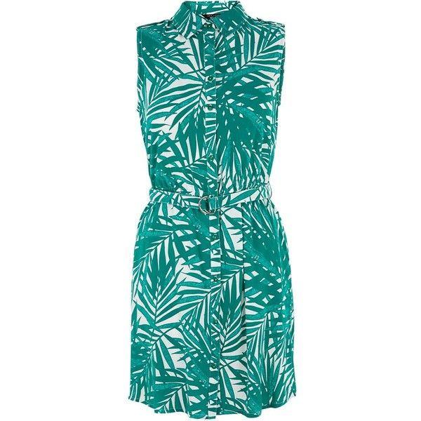 Teens White Palm Tree Print Dress found on Polyvore