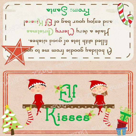 DIY Holiday Elf Kisses Bag Topper by MommaDazzDesigns on Etsy