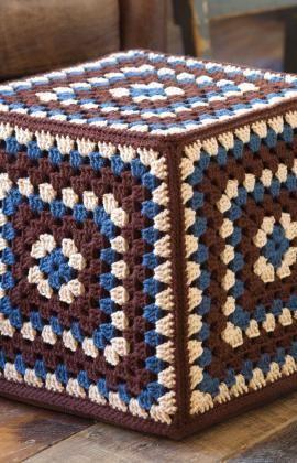 Granny Square Ottoman Cover: free pattern