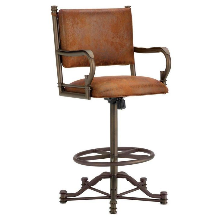 "Iron Mountain 1305326 Baltimore Tilt Swivel Counter Stool 26"" Seat Height w/ Mayflower Cocoa Fabric - Inca/Bronze"