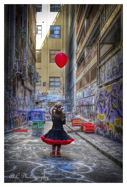 Red Balloon down Rutledge Lane by AliCPhotography, via Flickr