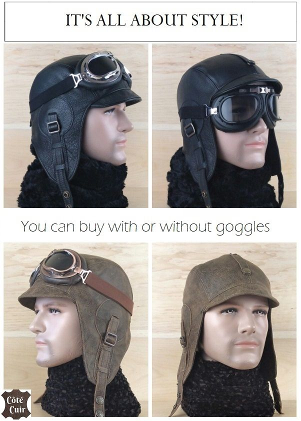 d1e01ebd307c29 Aviator hat, leather steampunk cap motorcycle moto motobike helmet and  goggles, flying pilot cap, military style WW2, black or old brown leather,  ...