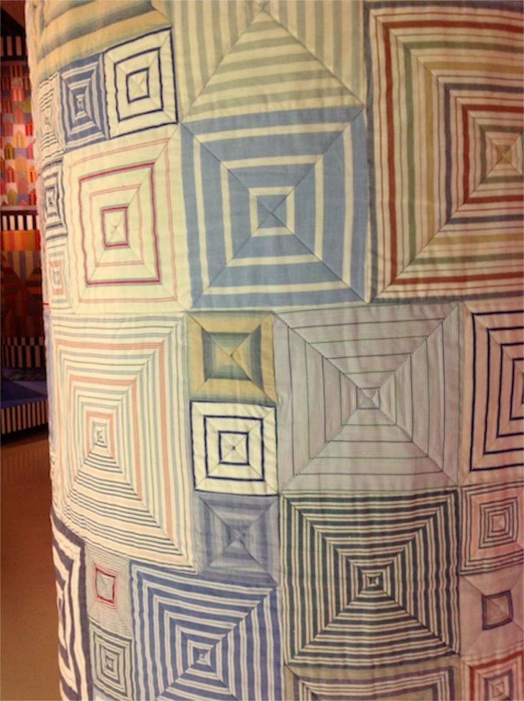 """close up, Shirt Stripes boxes quilt by kaffe Fassett.  Photo by Jilly Harris: Kaffe Fassett 2013 Exhibition """"A life in colour'"""
