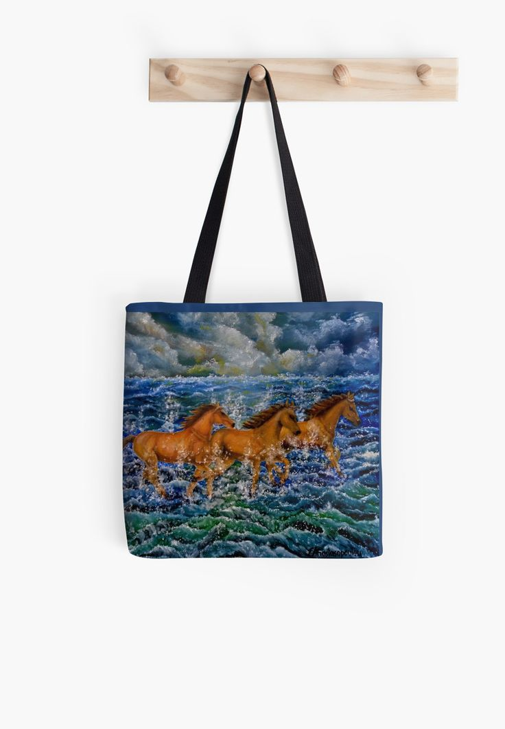 Tote Bag,   blue,cool,beautiful,fancy,unique,trendy,artistic,awesome,fahionable,unusual,accessories,for sale,design,items,products,gifts,presents,ideas,horses,equine,animals,wildlife,sea,waves,redbubble
