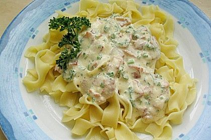 Nudeln mit Schinken - Sahne - Käse Soße (Rezept mit Bild) | Chefkoch.de