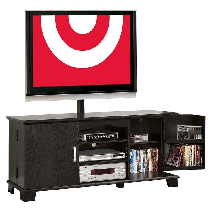 Wood Storage TV Stand With Mount - Black (60) - Walker Edison