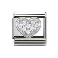 Nomination Silvershine - White CZ Heart Charm 330304 01