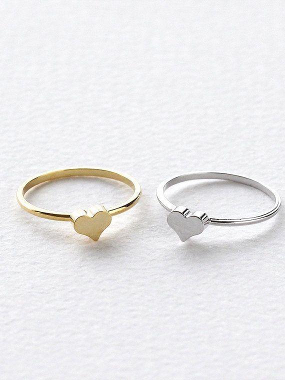 Minimalistic Mini Heart Ring 18k Gold Silver Rose by MinimalMeow