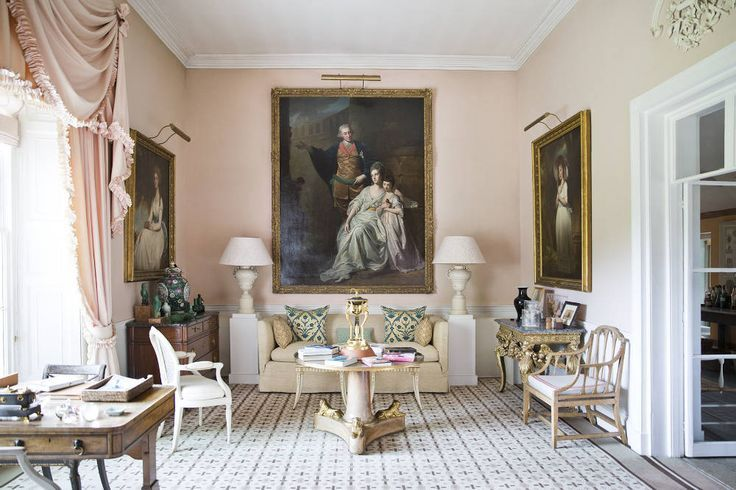 Sitting room at The Grove, the Hicks family home decorated by David Hicks (and then India Hicks) in Oxfordshire, England.