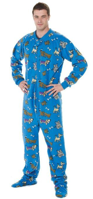 Footed #Pajamas Doggie Dream Adult Fleece | Mens footed ...