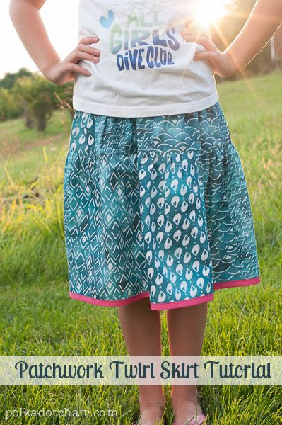 July's item of the month is clothing! Check out this #DIY Patchwork Twirl Skirt Tutorial!