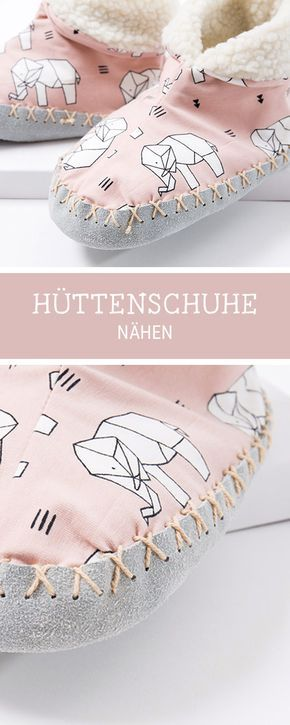 Nähanleitung für kuschelige Hüttenschuhe für die Winterzeit, Videoanleitung Nähen / sewing pattern and video tutorial for comfy slipper socks via DaWanda.com