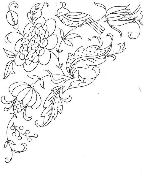 bird and vine embroidery pattern