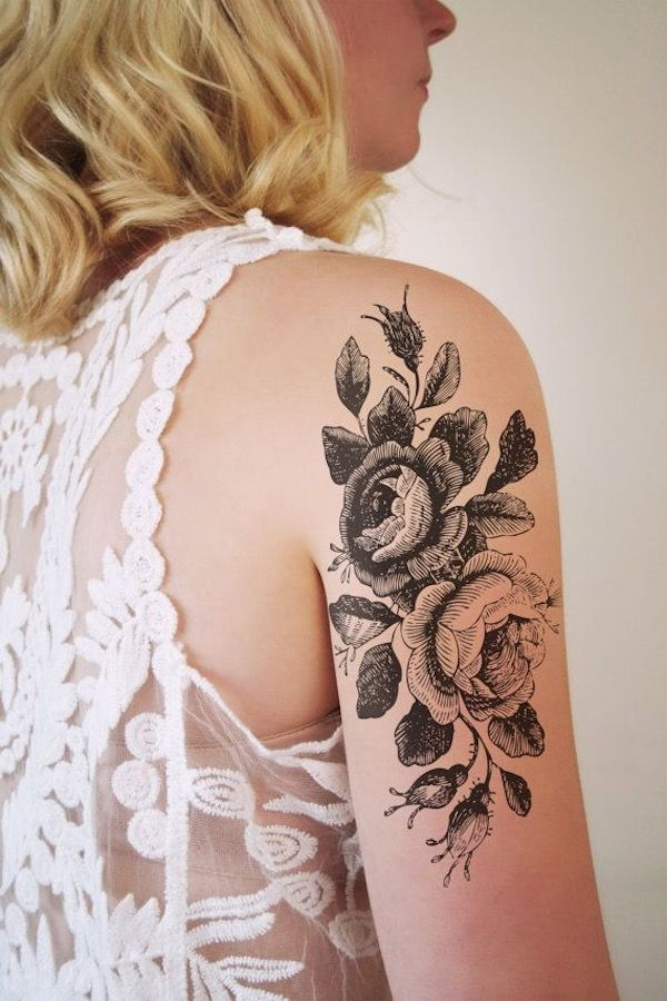 All black ink flower tattoos - Oh I love this style, it looks like the drawings of old vintage books. #TattooModels #tattoo