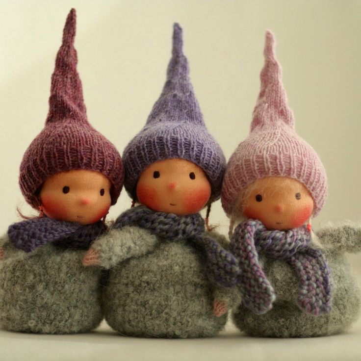 "Knitted Waldorf gnome dolls 6"" :)"