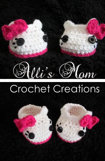 I need someone to make two pairs of these Hello Kitty Crochet Slippers. One pink and one purple please!