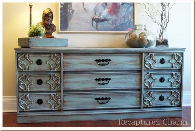 """Dresser in Valspar """"Favorite Jade"""" color. No primer. Paintbrush was just barely dipped in paint and then drug across in long strokes and the paint was then gone over again (while still wet) with a dry paintbrush to further thin the paint. Finished w/ polyurethane spray. Nice."""