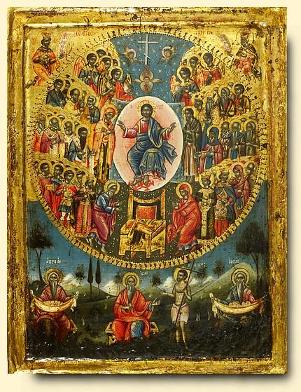 All Saints, an eighteenth-century Greek icon; symbols include a mandorla, angels, a throne, the symbols of hte four evangelists and the attributes of the saints and Old Testament figures. (The Temple Gaallery)