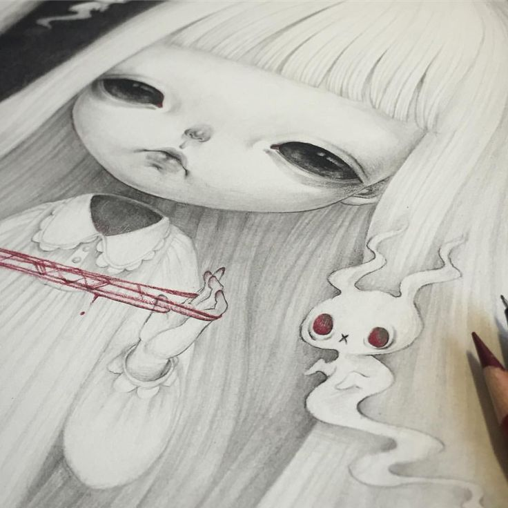 """""""Play With Me""""… will be shown @penumbragallery 's Hollow's Eve🎃 Which starts Oct 29th🎃❤️ Please contact gallery for more information😉💕 #holloween #creepy #illustration #drawing"""
