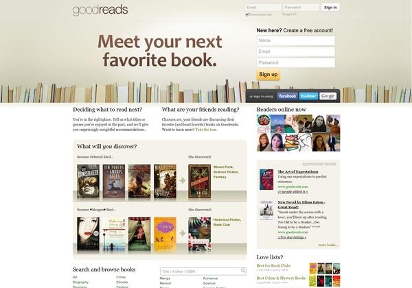 Meet your next favourite book http://www.goodreads.com