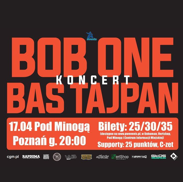 Agencja P.W. Events zaprasza serdecznie w kwietniu na koncert elektryzującego duetu poruszającego się w klimatach hip-hop/reggae do poznańskiego klubu Pod Minogą! Bob One i Bas Tajpan wykonają dla Was specjalnie tego wieczoru swoje wspólne utwory oraz najbardziej znane, solowe hity!