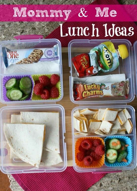 Mommy and Me lunch ideas. Shows you how to use similar items to pack your lunch alongside your child's lunch.